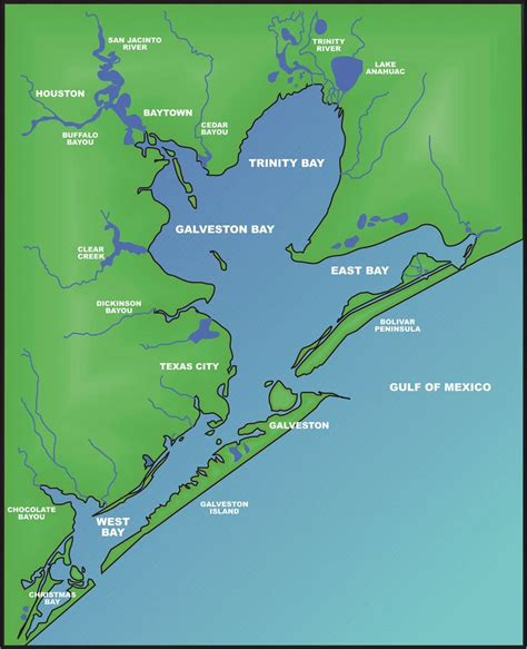 galveston map galveston bay the handbook of state historical association tsha