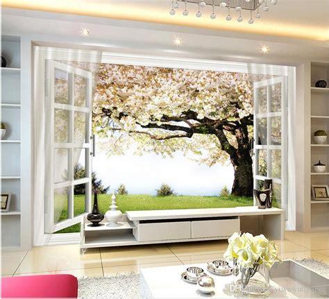 classic home decor sakura tree window  background wall