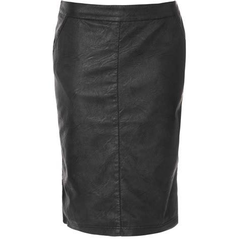 buy glamorous pu midi pencil skirt black