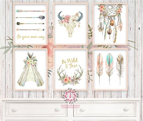 free printable wall art set boho nursery print wall art set of 6 teepee antlers