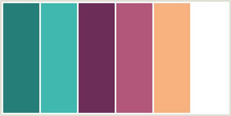 colours that go well with light pink colorcombo6344 with hex colors 257e78 40b8af 6c2d58