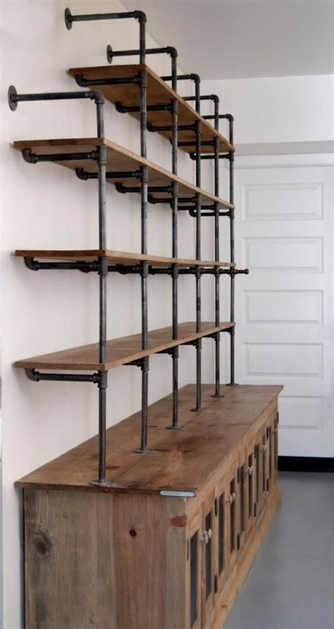pipe bookshelf with storage space