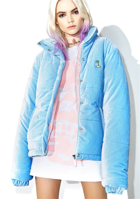 Parka Baby Blue local heroes baby blue velvet puffa jacket dolls kill