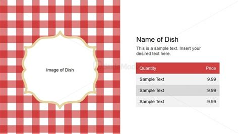 menu powerpoint template name of dish slide design for powerpoint slidemodel