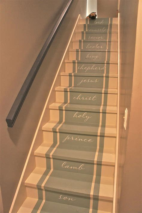Long Runner Carpet by Painted Stairs Stair Makeover