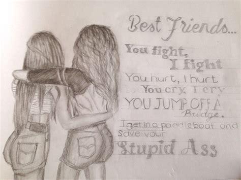 cute drawings of friendship best friend heart drawings hipster best friends drawings drawing arts sketch
