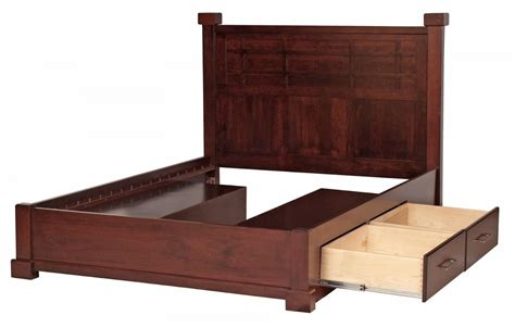 Wooden Bed Frame With Storage Solid Wood King Size Bed Frames With Storage With Cherry Finish And Wooden Panel Headboard