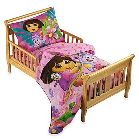 dora toddler bed set dora the explorer 4 piece toddler bedding set bed bath