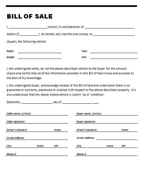 car bill of sale template free free printable bill of sale templates form generic
