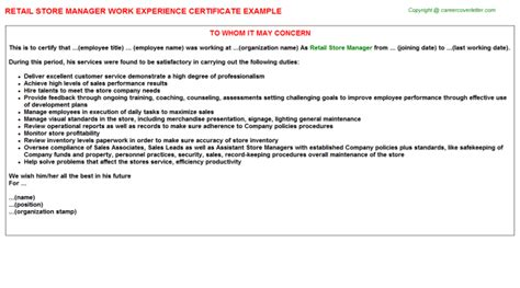 Work Experience Letter For Storekeeper Retail Store Manager Work Experience Letters Certificate Of Letters Letter Sle