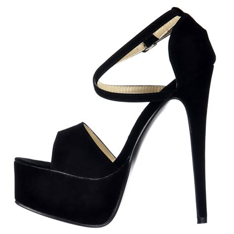 shoekandi cross strappy stiletto platform high heel