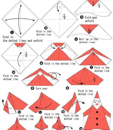 Easy Santa Origami - how to make origami how to make santa origami