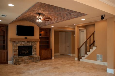 creekstone basement with brick arched paver ceiling