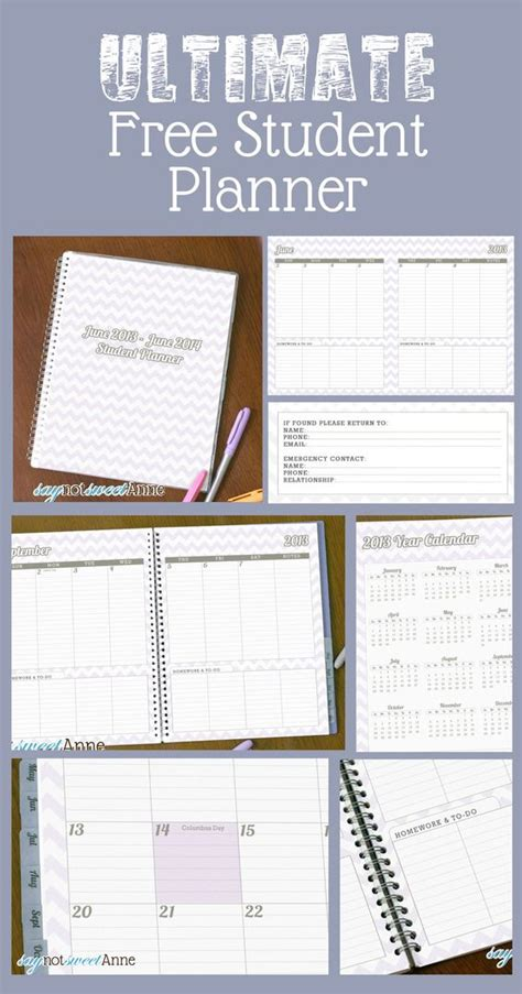 printable planners for homework june to june student planner 2013 school year awesome