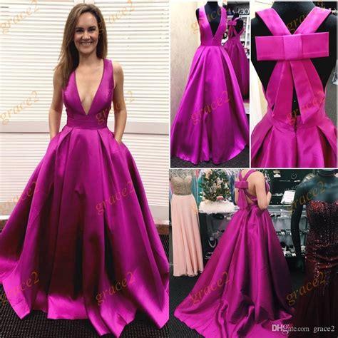Ral Pict Kebaya Satin Jadi big bow prom dresses 2017 with v neck and criss cross straps real photos fuchsia satin