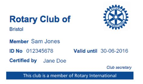 Rotary Membership Card Template by New Database Management System Dms