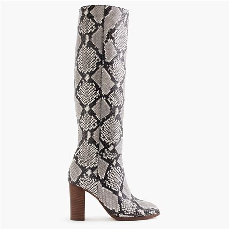 snakeskin high heel boots high heel knee boots in snakeskin printed leather