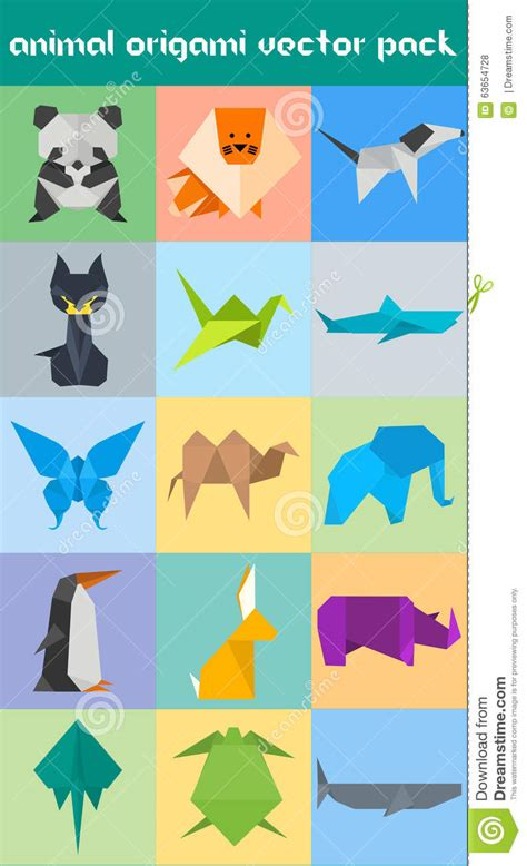 Origami Pack - animal origami vector pack stock vector image 63654728
