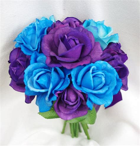 Fabric Flower Rings - wedding deep purple and aruba blue natural touch roses