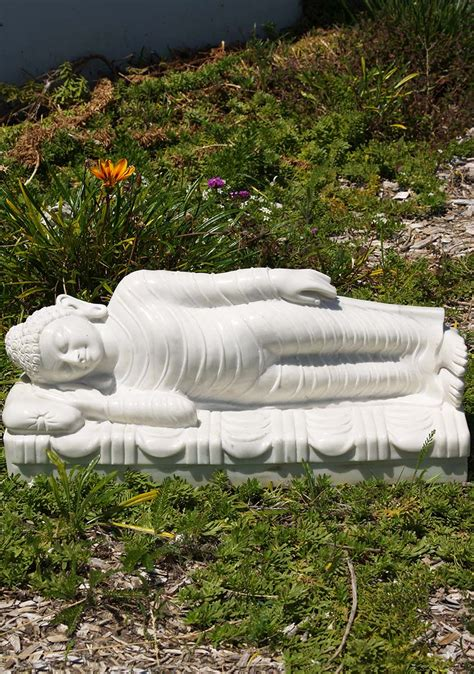 Reclining Lotus by White Marble Reclining Buddha Statue 24 Quot 71wm76a Hindu