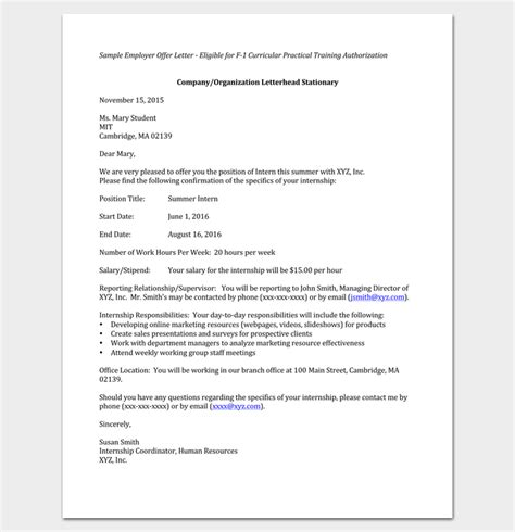 appointment letter format marketing manager internship appointment letter template 10 docs formats