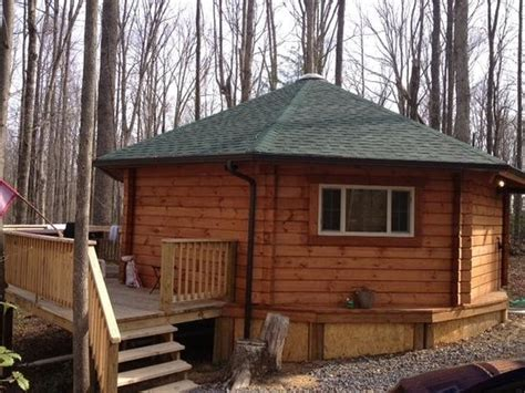 Country Roads Cabins by Back Deck And Tub See The Trees Picture Of