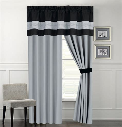 Black And Gray Window Valance Grey Black And Yellow Shower Curtains