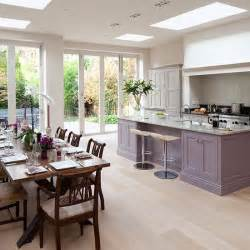 kitchen diner flooring ideas spacious grey and purple kitchen diner with oak wood floor