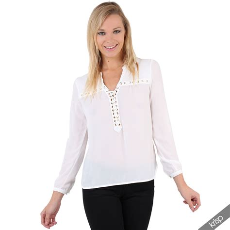 Blouse Jumbo Zara Puff By Enter womens lace up crepe chiffon blouse smart tunic top formal shirt office ebay