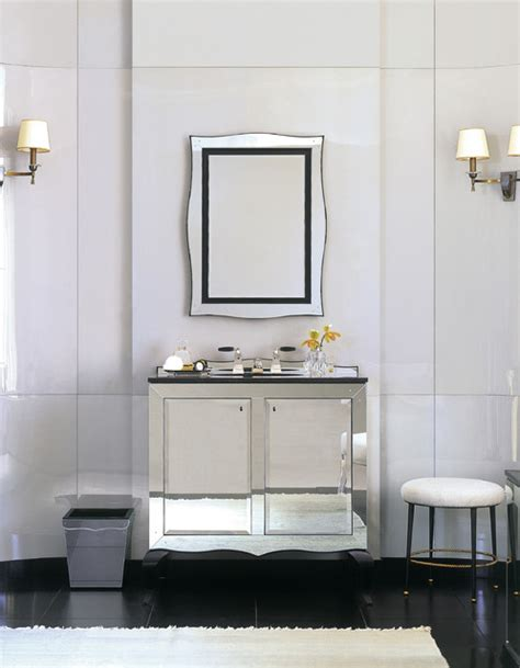 Mirrored Wall Sconces For Candles Kallista Glamour Mirrored Vanity Contemporary Bathroom