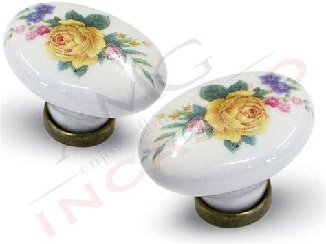 pomelli ceramica cucina pomolo pomello 670 11 fiore giallo porcellana ceramica