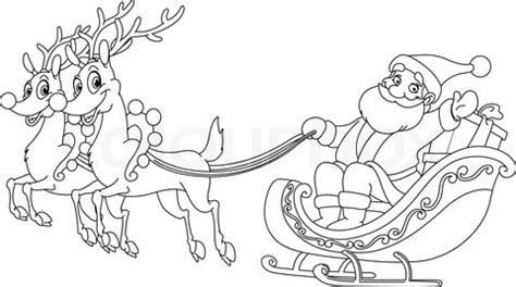 coloring page of santa in his sleigh santa sleigh and reindeer coloring page