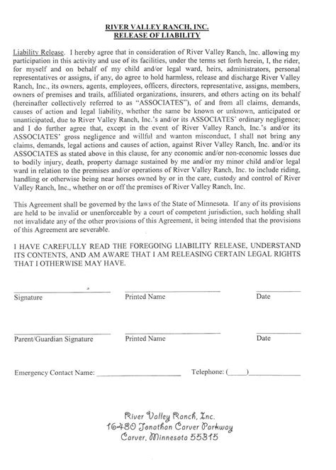 Horseback Riding Release Form Images Frompo Horseback Waiver Template