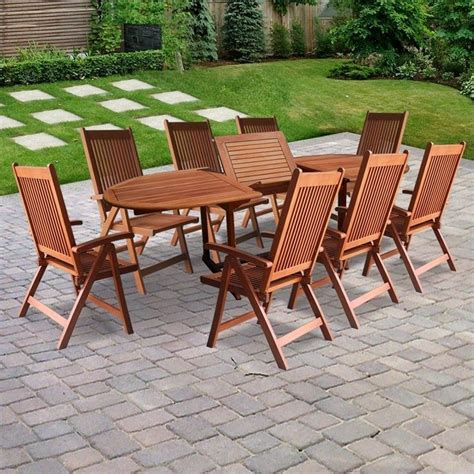 9 piece wood patio dining set v144set2