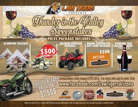 Arizona Sweepstakes Law - thunder in the valley sweepstakes cottonwood arizona law tigers