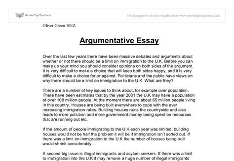 Exles Of Argumentative Essays Introduction by Argumentative Essay Exle College Costa Sol Real Estate And Business Advisors