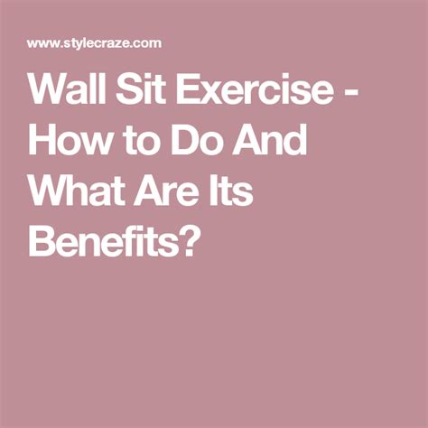 wall sit exercise        benefits