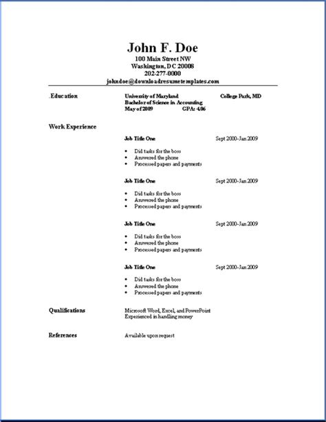 basic resume outline sle resume sles