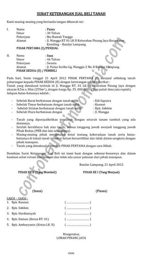 contoh surat keterangan jual beli tanah lengkap dengan