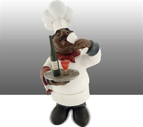 Black Chef Kitchen Decor by Black Chef Kitchen Statue Wine Table Decor