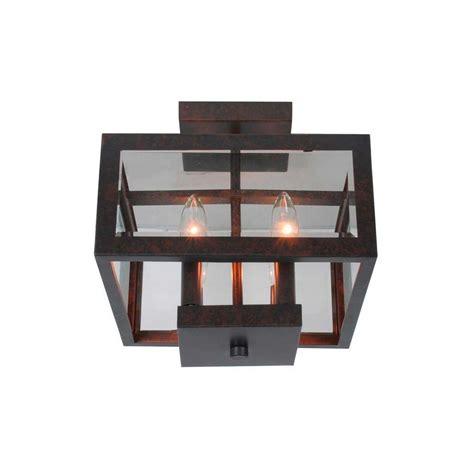 geometric flush mount light hton bay 11 in 4 light oxide brass semi flushmount