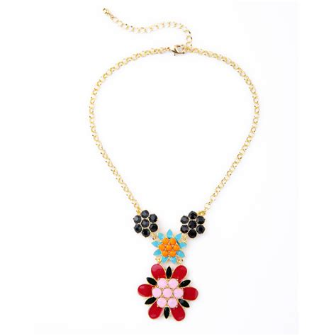 ethnic spike flower fancy necklace for gold