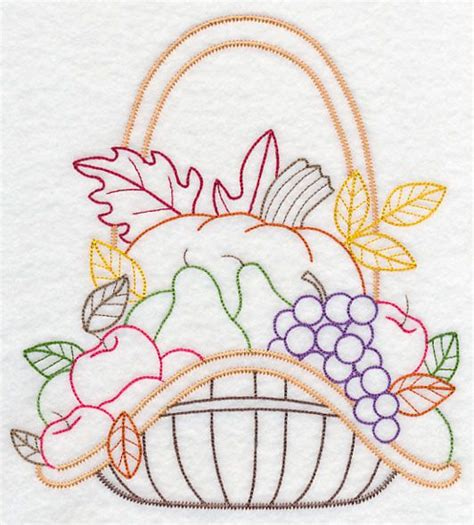 Machine Embroidery Designs For Kitchen Towels autumn bounty basket vintage embroidery pattern