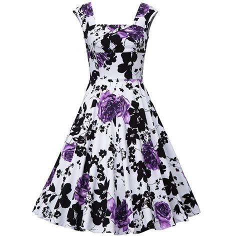 Square Flower Dress vintage square neck sleeveless floral print dress for