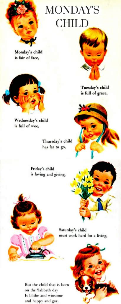 More On Monday One By Child by Monday S Child Poem Your Child S Personality By Day Of