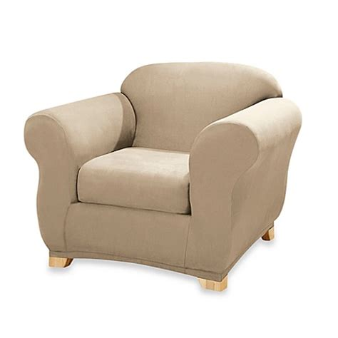 Stretch Suede Taupe 2 Piece Wing Chair Slipcover By Sure