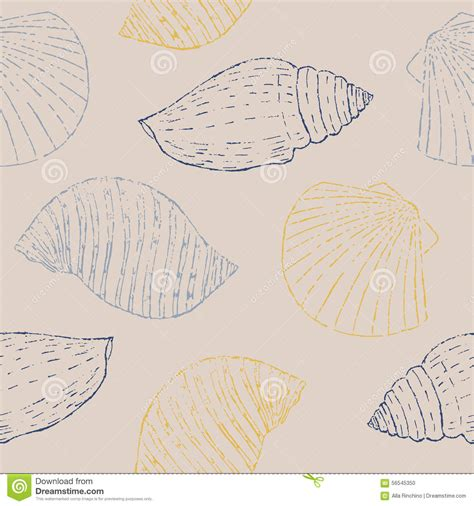 seamless pattern sketch seamless pattern with sketch seashells stock vector
