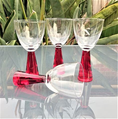 thick stem wine glasses vintage red thick stem wine glasses set of 4 551c