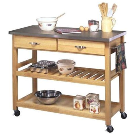 stainless steel kitchen island cart home styles kitchen cart in natural wood with stainless top
