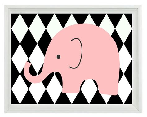 black and white pattern infant elephant nursery wall art print black white pink decor